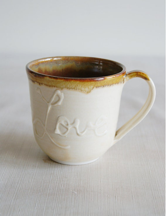 Ceramic LOVE Mug Cup in Light Yellow and Red