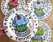 KILN FIRED Happy Birthday cherry cupcake personalized Plate custom ceramic