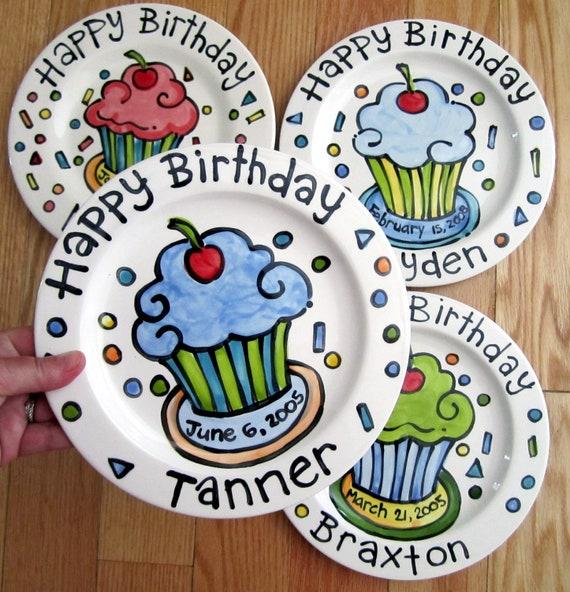"KILN FIRED Happy Birthday cherry cupcake personalized name Plate custom ceramic 7"""