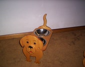 SUPER, SUPER SALE as pictured-Yellow Lab elevated dog feeder 7inch high bowls hand crafted