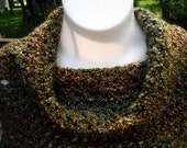 Crocheted womens tweens cowl neck multicolor shades of autumn poncho