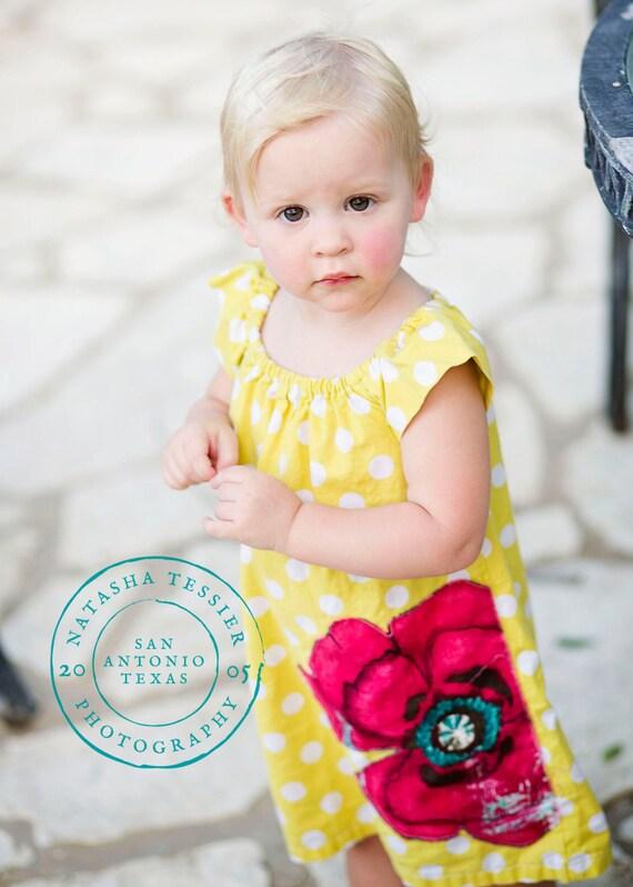 Girls Peasant Dress . Tunic . Yellow Dot . Poppy Applique