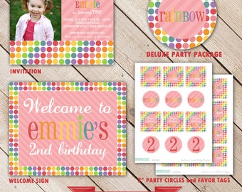 Deluxe RAINBOW Collection...Custom Printable Party Package...Personalized...by KM Thomas Designs