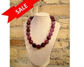 Dark Pink Faceted Necklace