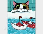 ACEO PRINT - Paper Sail boats, Calico Cat by Lisa Marie Robinson - Open Edition