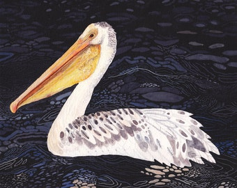 "Pelican at Night- 11"" x 14"" Archival Print"