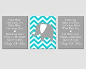 Baby Mine Chevron Elephant - Set of Three 11x14 Nursery Art Prints - Dumbo Song Lyrics - Choose Your Colors - Yellow, Gray, Aqua, and More
