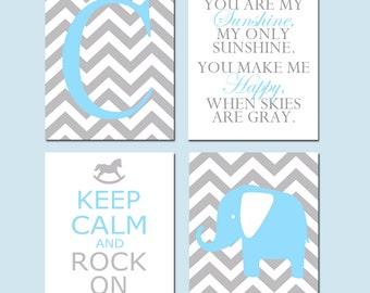 Baby Boy Nursery Art - You Are My Sunshine, Chevron Elephant, Keep Calm Rock On, Chevron Monogram Initial - CHOOSE YOUR COLORS - Four 8x10