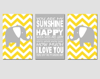 Nursery Art Trio - Set of Three 11x17 Prints - You Are My Sunshine, Chevron Elephant - CHOOSE YOUR COLORS - Shown in Yellow, Gray, More