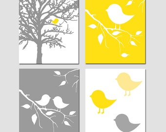 Modern Baby Bird Nursery Art Quad - Set of Four 8x10 Prints - Kids Wall Art - CHOOSE YOUR COLORS - Shown in Yellow, Gray, and More