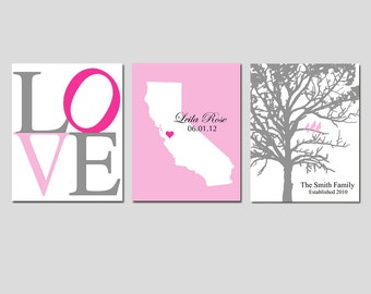 Nursery Art Trio - LOVE, Family Established Bird Tree, State Birth Place Map - Set of Three 8x10 Prints