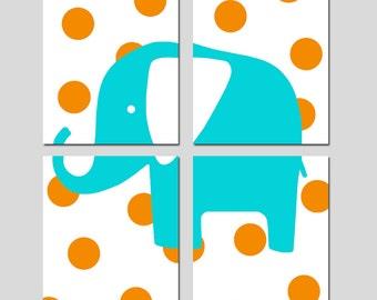 Polka Dot Elephant - Modern Nursery Art Quad - Set of Four 8x10 Prints - Kids Wall Art - CHOOSE YOUR COLORS