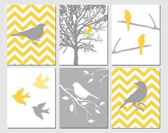 Modern Bird Art - Set of Six 11x14 Prints - Chevron, Birds, Tree, Nature - CHOOSE YOUR COLORS - Shown in Yellow, Gray, and White