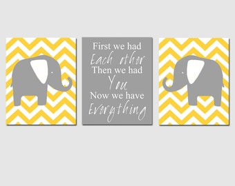 Elephant Nursery Trio - First We Had Each Other, Chevron Elephants - Set of Three 11x14 Prints - CHOOSE YOUR COLORS - Gray, Yellow, and More