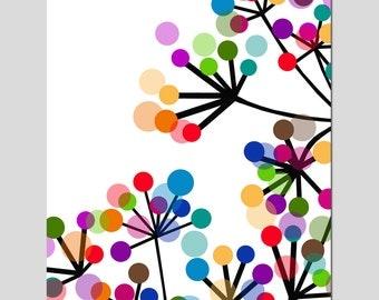 Modern Colorful Botanical - 11x14 Print - Original Design - Dots, Floral, Geometric - Choose From Five Different Designs