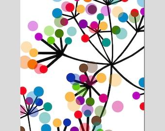 Modern Colorful Botanical - 8x10 Print - Original Design - Dots, Floral, Geometric - Choose From Five Different Designs