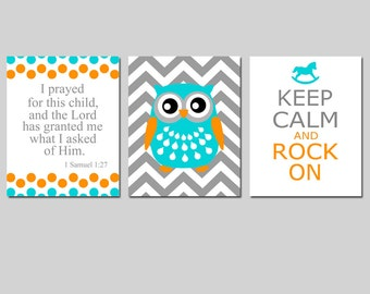 Nursery Art Trio - Set of Three 11x14 Prints - I Prayed For This Child, Chevron Elephant or Owl, Keep Calm and Rock On - CHOOSE YOUR COLORS