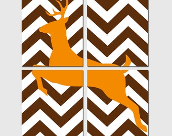 Chevron Deer Theme Nursery Art Decor Quad - Set of Four 8x10 Prints - CHOOSE YOUR COLORS - Shown in Orange, Chocolate Brown and More