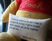 Winnie the Pooh-'Dreaming Together''-Miniature Quotation Mini Pillow-Blue Striped Ticking