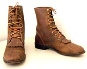 Lace up Brown leather Justin cowboy boots with removable fringe -- cowgirl size 5.5 C
