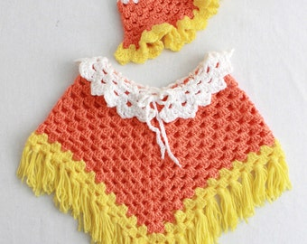 Candy Corn Poncho Crochet Pattern PDF