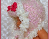 Pink Baby Hat, Baby Winter Hat, Baby Hat with Earflaps, Baby Girl Hat, Hat with Flower, Baby Girl Beanie, Pink Trapper Hat, Cute Baby Hats