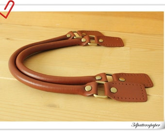 Leather handles for purse bag making  16.5 inch Brown- K32