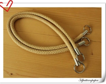 25 inch Crochet bag leather handles  handbag handle a pair beige   M39E