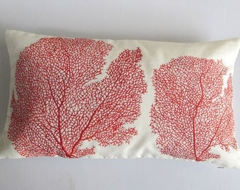 red coral pillow custom made offvwhite with red coral fan 12X20 inch ONE IN STOCK