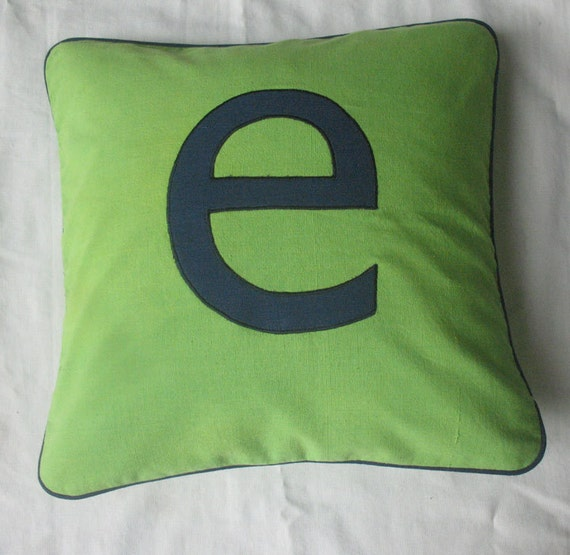 Monogrammed Throw Pillow Covers : Monogrammed throw pillow covers-18 inches green and navy blue
