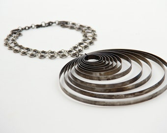 Large Statement Necklace Made From Vintage Typewriter Parts and Bicycle Chain
