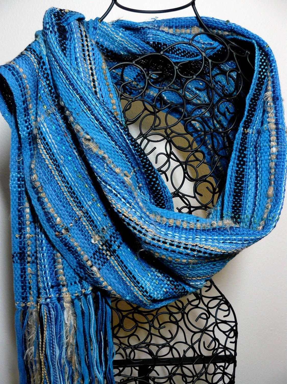 handwoven scarf saori inspired shawl woven wrap scarf blue