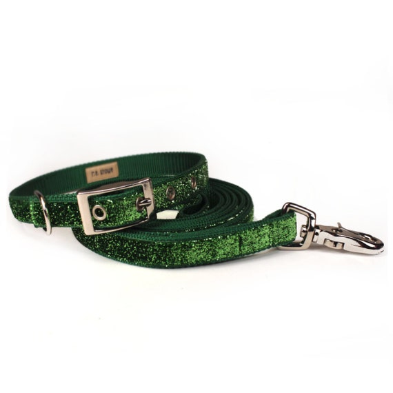 SALE - apple green sparkle dog collar and leash set (3/4 inch)