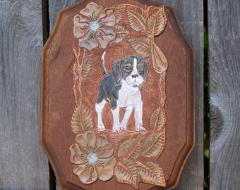 Cutest Vintage Handtooled Leather & Wood Dog Plaque