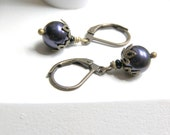 Earrings Dark Purple Swarvoski Pearl
