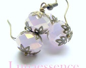Pink Opal Faceted Crystal Brass Filigree Earrings