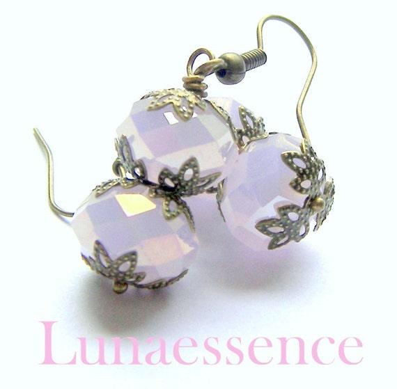 Pink Opal Faceted Crystal Brass Filigree Earrings