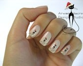 Very Chic Mod Black Cat With Christmas Hat Nail Art Waterslide Water Nail Decals Miniature - cat-013