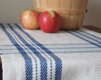 Handwoven table runner in colonial blue farmhouse plaid by Kate Kilgus