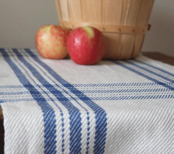 Handwoven table runner in colonial blue farmhouse plaid by Kate Kilgus
