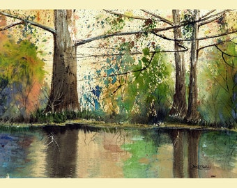 Landscape Painting watercolor sycamore Print River with trees water Reflections with Fall colors 7x10 Giclee