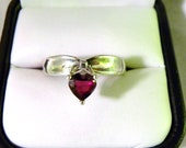 Sterling Silver Ring with Dangling Red Heart - Size 9