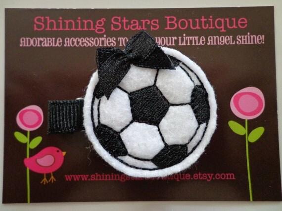 Girls Hair Accessories - Felt Hair Clip - Black And White Embroidered Boutique Felt Sports Soccer Ball Hair Clippie