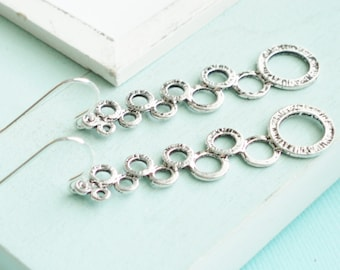 Statement Earrings - Silver Bubbles Earrings