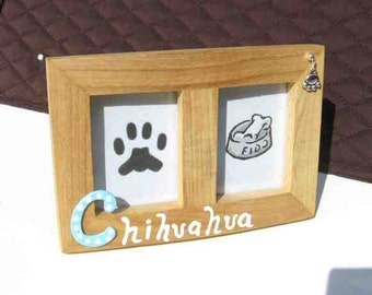 Final Markdown Sale...CHIHUAHUA Dog Breed Wood Desktop Double Photo Frame w/Pawprint Charm