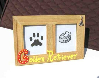 Final Markdown Sale...GOLDEN RETRIEVER Dog Breed Wood Desktop Double Photo Frame w/Pawprint Charm