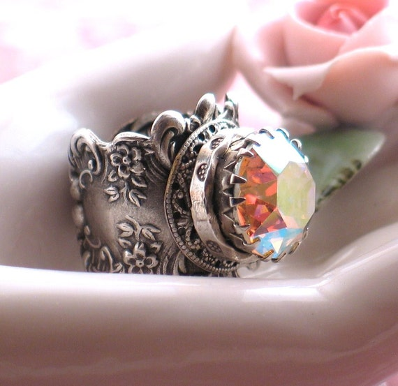 Reserved for Lisa - Charisma - Fabulous Vintage Jewel Silver Filigree Ring by Lorelei Designs
