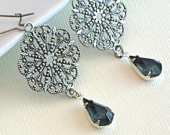 Silver Filigree Chandelier Earrings - Montana Blue Glass Jewels