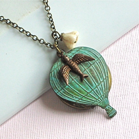Hot Air Balloon Locket Necklace - Bird, Flower,  Verdigris Brass