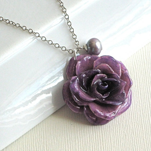 Purple Preserved Rose Necklace - Natural, Real Flower Jewelry, Nature Jewelry,